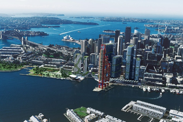 The preferred scheme for Barangaroo South, by Lend Lease, with a design team led by Rogers Stirk Harbour + Partners.