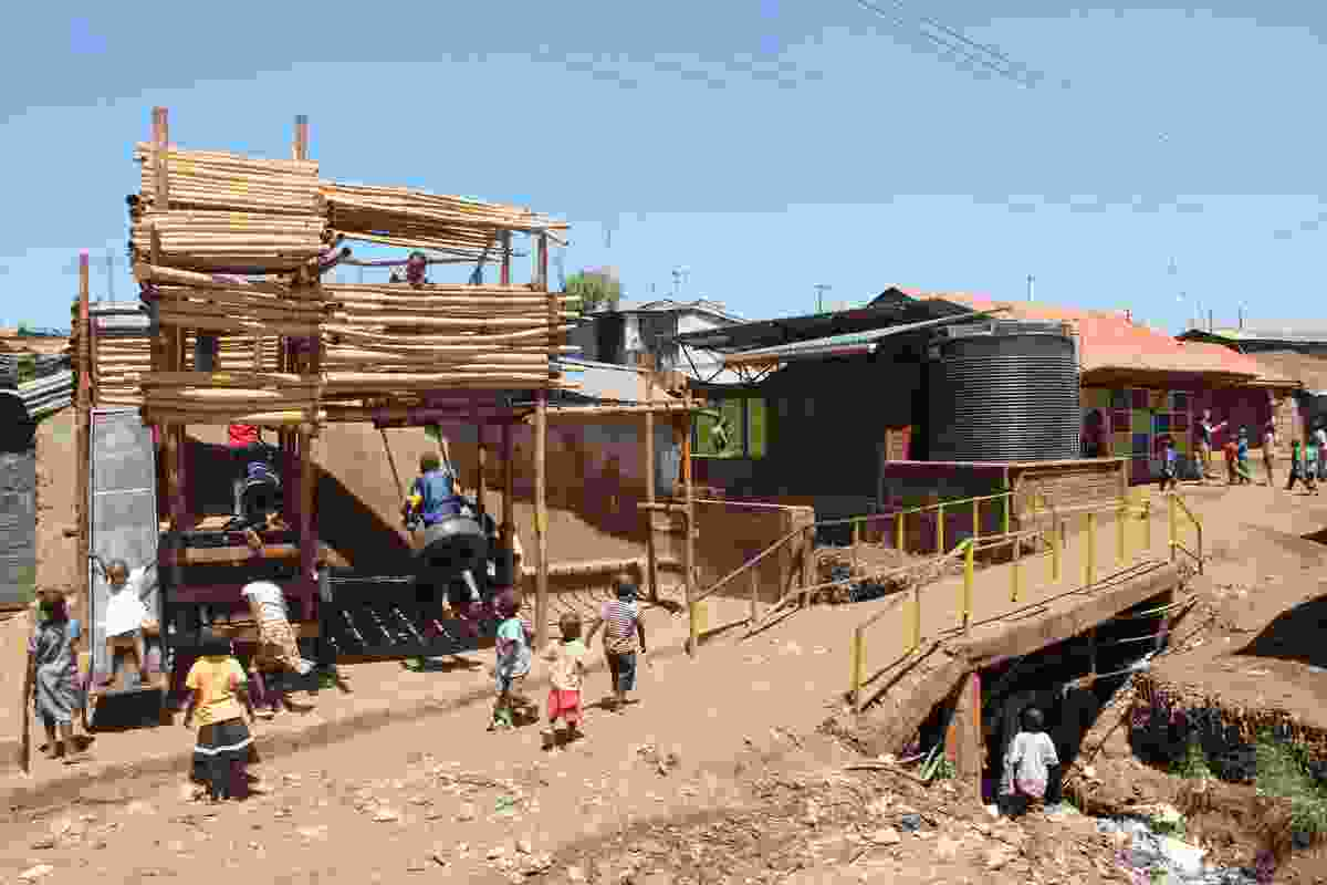 A playground constructed from bamboo for local children.