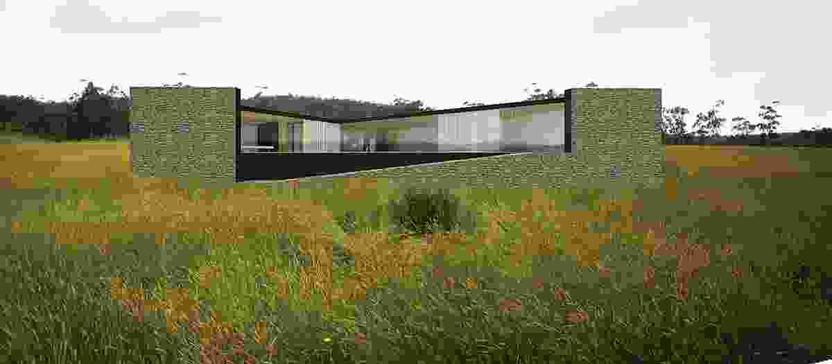 Apollo Bay house (in progress):  Render of house showing its exploration of layering. Visualization: Room 11 Architects.