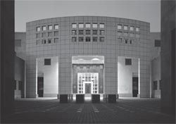 The embassy on its completion in 1992. The chancery seen on axis across the chancery courtyard. Photograph John Gollings.