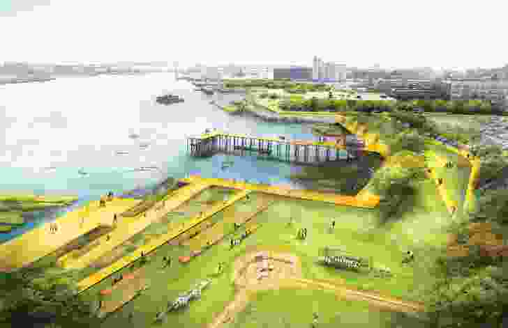 Stoss Landscape Urbanism developed a coastal resilience strategy for East Boston and Charlestown that outlines near and long-term approaches to protecting vulnerable neighbourhoods from flooding.