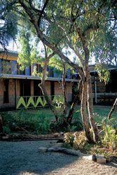 The courtyard promotes social interaction.