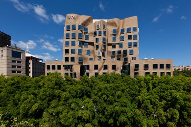 The eastern facade is made up of 320,000 hand laid, custom design bricks.
