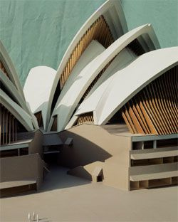 Model by Finecraft Modelmakers Sydney, demonstrating thin plywood battens fused with bronze of the last version of the glass walls by Jørn Utzon, 1966. Antonia Williams Collection.