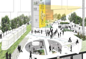 Stewart Hollenstein + Colin Stewart Architects' winning scheme for an urban living room, a field of indoor/outdoor spaces and a sunken garden.