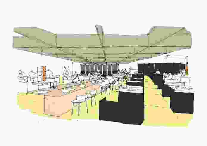 A sketch of the design of the Melbourne Pavilion by Design Office.