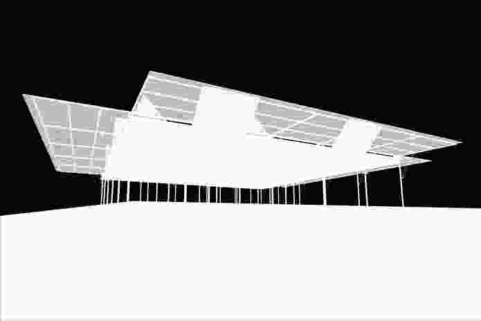 Sean Godsell's design for the inaugural MPavilion is inspired by 'outback sheds and verandahs.'