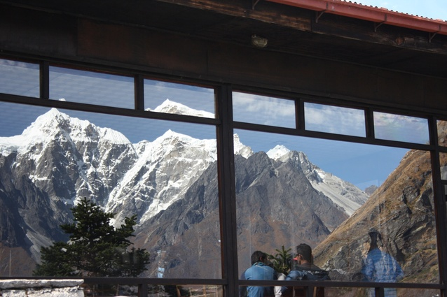 Himalayan giants Everest, Lhotse and Nuptse reflected in windows at the Hotel Everest View.