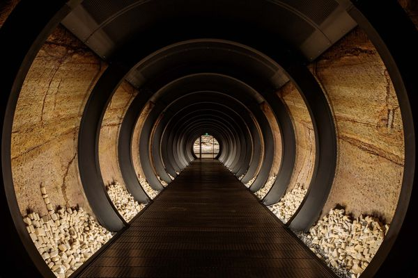 Central tunnel in the Siloam expansion at Mona by Nonda Katsalidis and Falk Peuser of Fender Katsalidis.