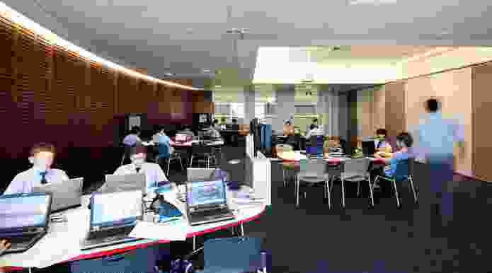 Flexible teaching and learning spaces are supported for technology throughout the building.