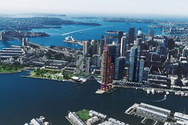 The preferred scheme for Barangaroo by Lend Lease and Rogers Stirk Harbour + Partners.
