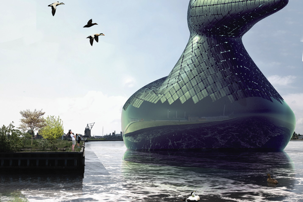 Energy Duck – submission to the 2014 Land Art Generator Initiative Copenhagen design competition. Energy Duck is an entertaining, iconic sculpture, a renewable energy generator, a habitable tourist destination, and a celebration of local wildlife.