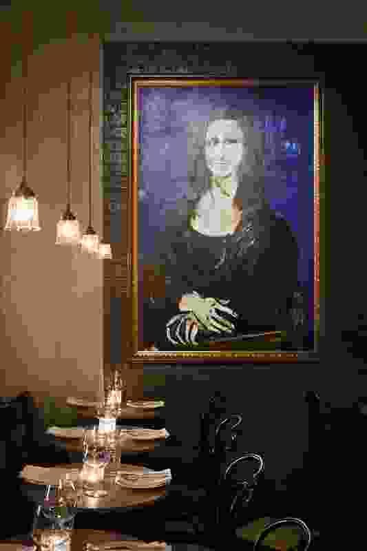 "A ""boozy"" Mona Lisa artwork by Kim Barter surveys the bar's patrons."