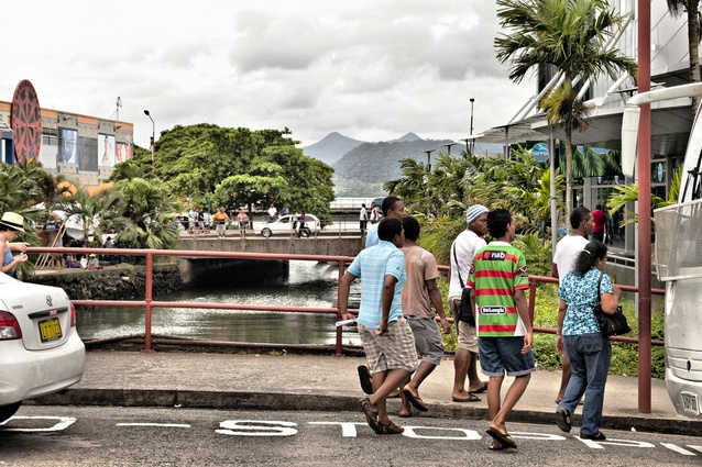 Crossing the Samabula River in Suva, Fiji, 2012.