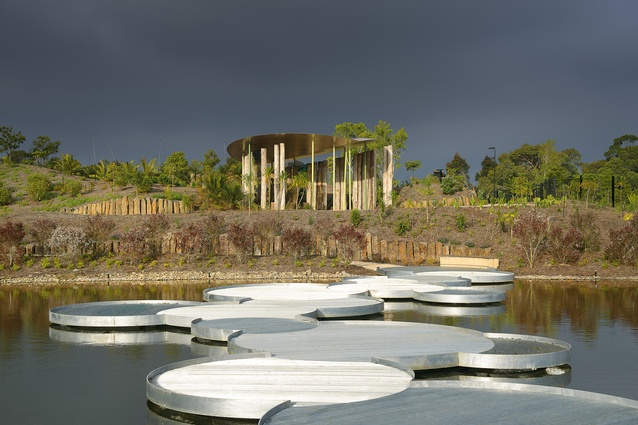A lily pad-inspired bridge crosses the lake connecting to the Gondwana Garden.