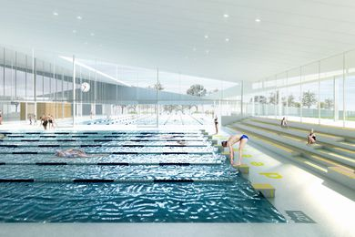 Andrew Burns Architect | Green Square Aquatic Centre competition scheme: pool hall, view to outdoor pool and sports field.