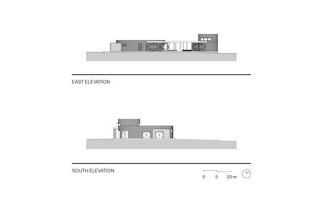 Elevations of Clarence High School Oval Sports Pavilion.