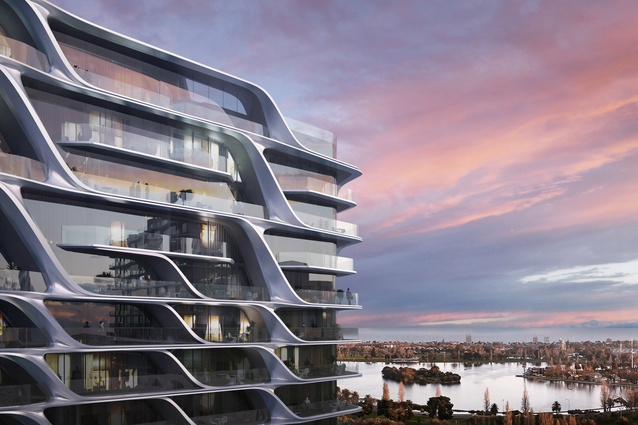 The facade of the Zaha Hadid Architects-designed tower features loop-shaped balconies.