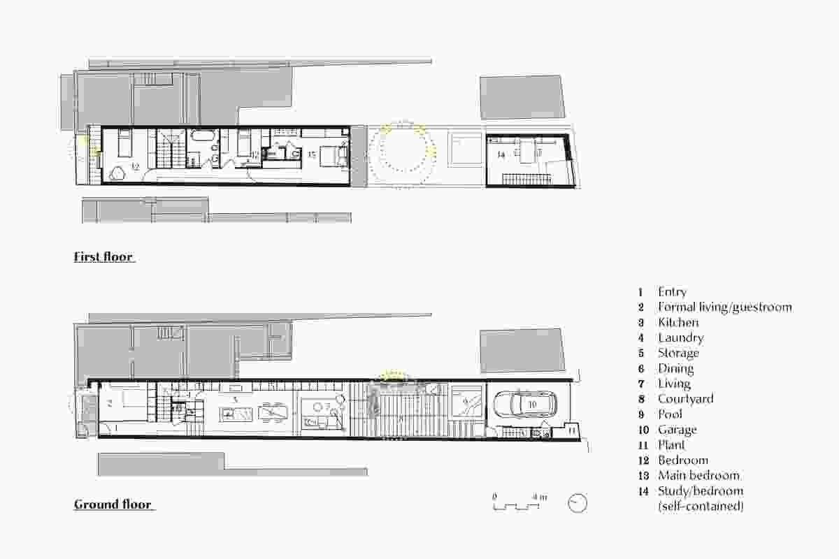 Plans of Two Wall House by Woods Bagot.