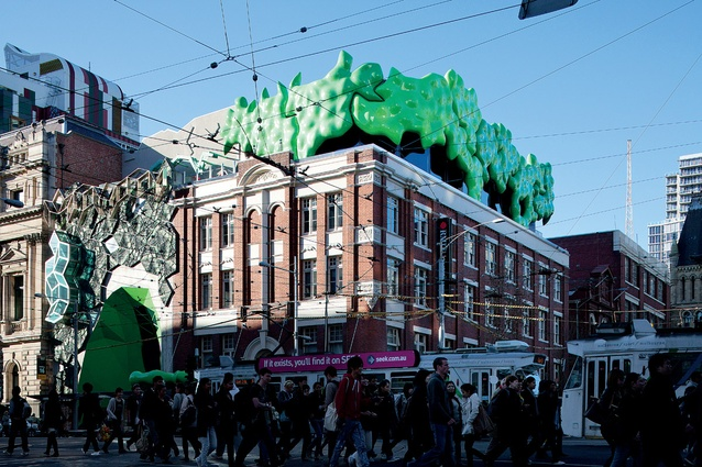 "Ian McDougall is an alumnus of RMIT. In 2011 ARM Architecture transformed the university's Building 22 with knobbly green protrusions, known as the ""green brain."""