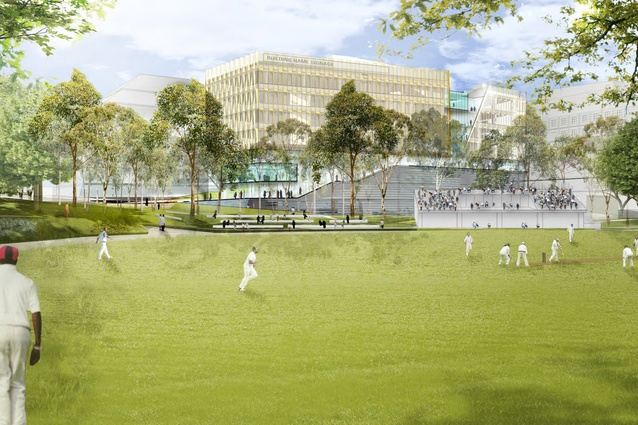 The The proposed health building at the University of Sydney by Diller Scofidio Renfro and Billard Leece Partnership will provide views of University Oval No. 1.