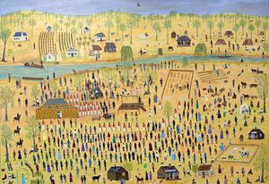 Marlene Gilson, Wathaurong, born 1944, Tunnerminnerwait and Maulboyheenner, 2015. City of Melbourne Arts and Culture Collection. © Marlene Gilson.