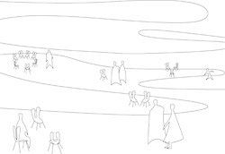 Concept sketch by SANAA of the installation held for the Sherman Contemporary Art Foundation.