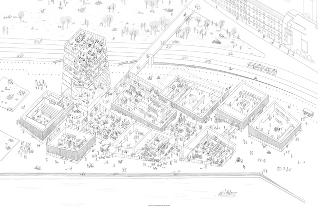 Moreau Kusunoki Architectes' drawing of their winning design for Guggenheim Helsinki.