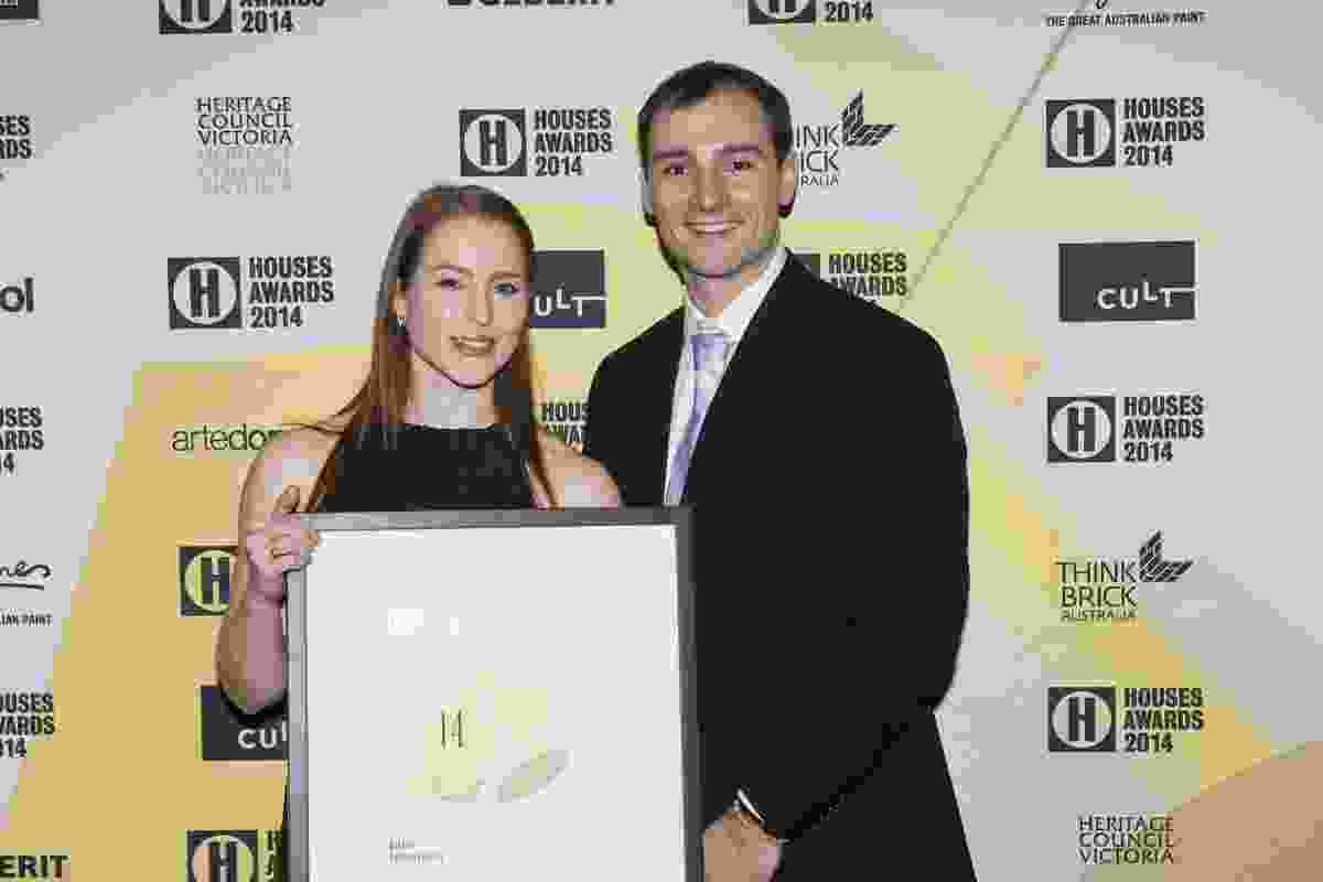 Winner of Sustainability Bonnie Herring of Breathe Architecture with Anthony Adamo of Verosol.