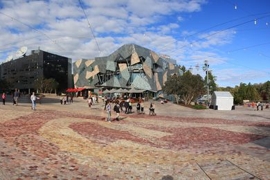 Federation Square designed by Lab Architecture Studio and Bates Smart, completed in 2002.