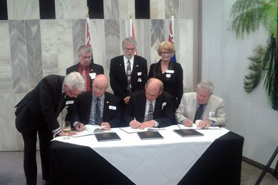 The signing took place at the New Zealand Parliament on 18 February 2015.