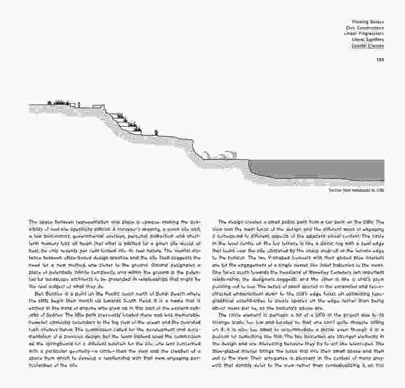 A page from Sunburnt – Landscape Architecture in Australia by SueAnne Ware and Julian Raxworthy.