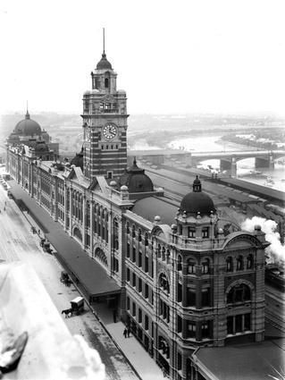 An historic image of Flinders Street Station.
