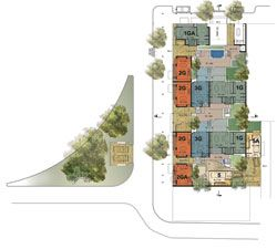The winning scheme in the Adelaide Affordable Eco-Housing Competition by Troppo Architects Adelaide. Level 1 plan.