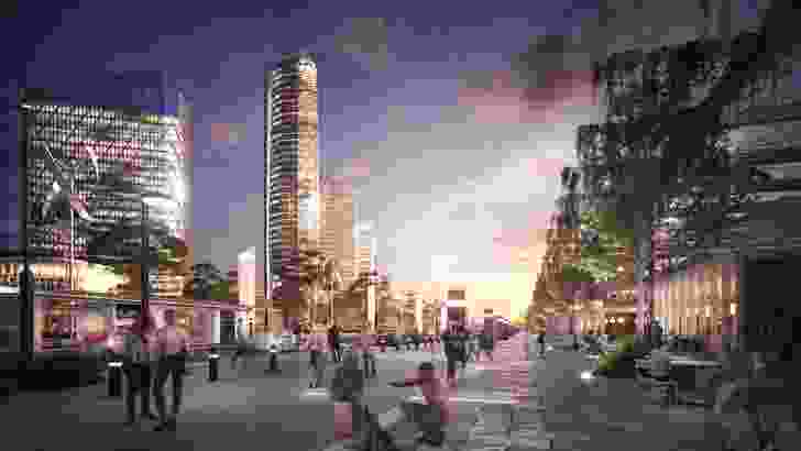 A station in the proposed Word Trade Centre Sydney development masterplanned by Woods Bagot.