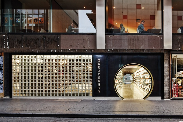 The hole in the wall entrance at Sneaker Boy in Flinders Lane, Melbourne, designed by March Studio.