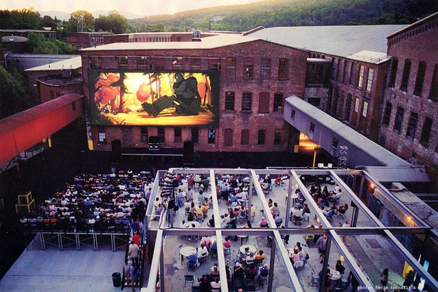 At MASS MoCA, North Adams, Massachusetts (1997) DIRT Studio turned an abandoned textile printing mill's former workyards into public venues for music and film events.