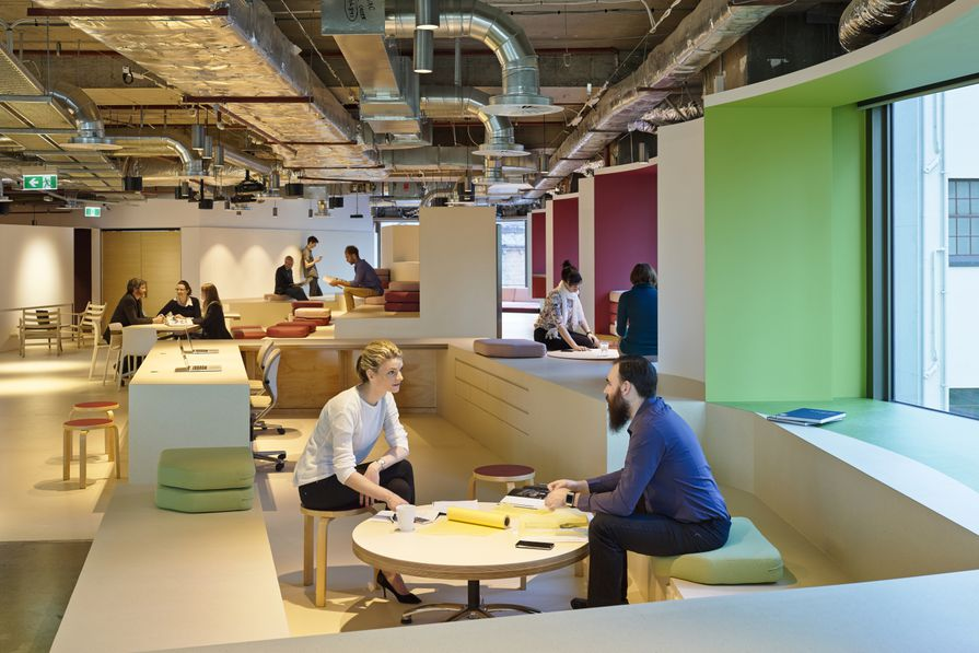 BVN Donovan Hill's new workplace features raised benches which act as theatre seating as well as informal meeting places.