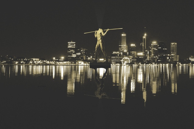 A proposal for a Statue of Liberty-style sculpture of Indigenous warrior Yagan in the middle of Perth Water to commemorate the bicentenary of Perth.