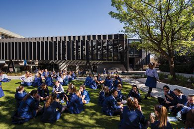 The new Mandeville Centre at Melbourne independent girls' school Loreto Mandeville Hall houses the school administration, staff centre, lecture theatre, Learning Resource Centre and Year 12 Centre.