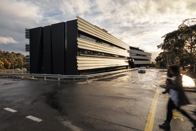The long, low Science and Engineering Building forms a bracket at the southern edge of the university's Mt Helen campus in Ballarat.
