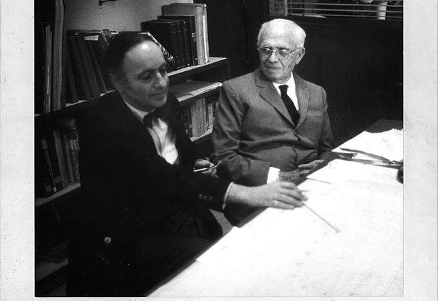 Harry Seidler (left) and Pier Luigi Nervi (right) in Rome, 1972.