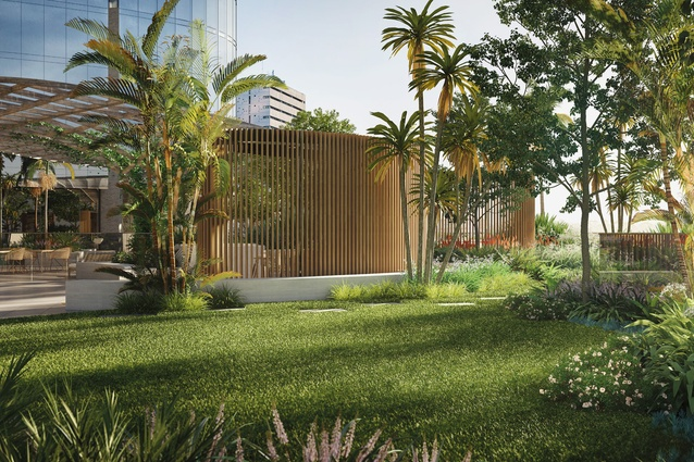 A rooftop park will eight storeys above the street as part of Melbourne Square by Cox Architecture.