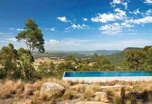 The above-ground concrete pool was designed by architects James Stockwell and Jonathan Temple.