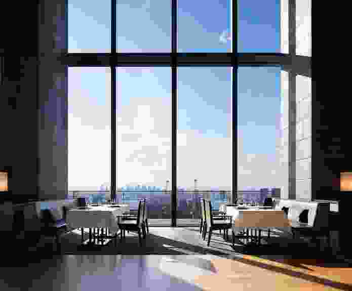 Guests can view the Tokyo skyline from the double-height dining room on level thirty-three.