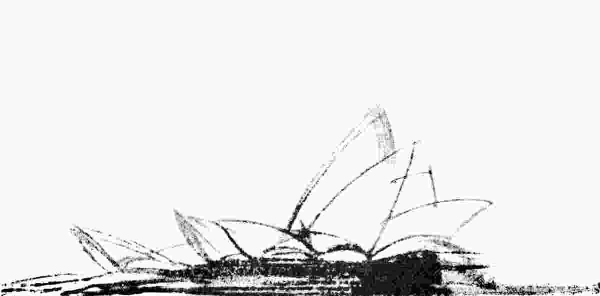 A sketch of the platform and roof forms of the Sydney Opera House.