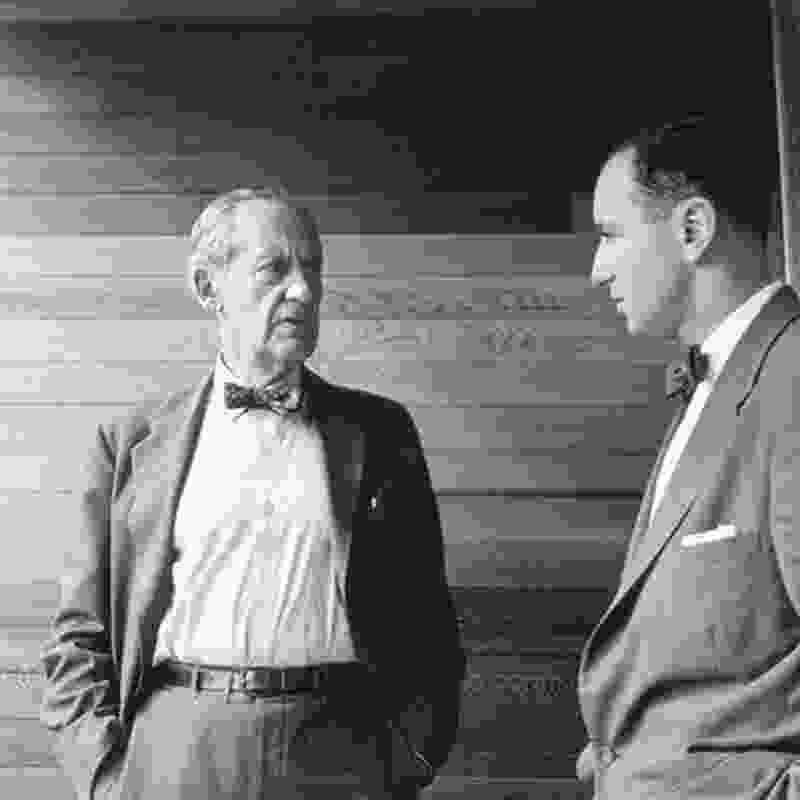 Bauhaus great Walter Gropius (left) with Harry Seidler (right) in Seidler's Julian Rose House in Sydney, 1954.