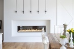 Escea DX1500 frameless ducted gas fireplace complements minimalist interior
