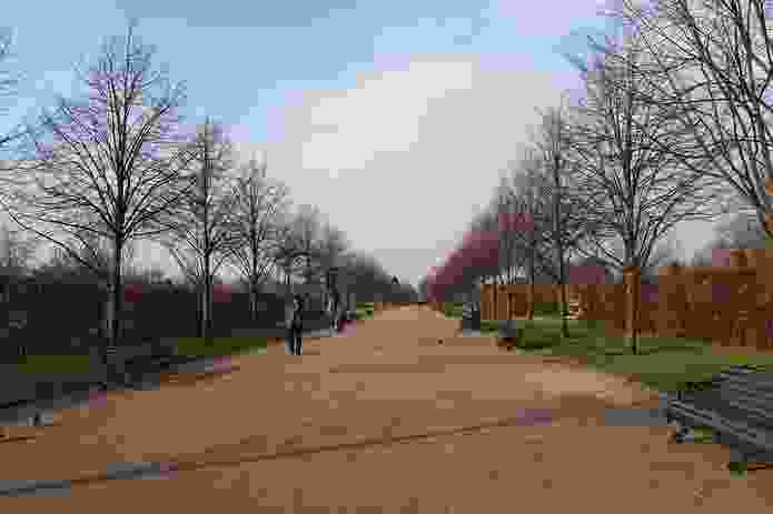 A linear path, in the same London park, with a strong one-point perspective.