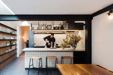 """The refined and relaxed kitchen is """"pulled into a living theatre of cooking, eating and enjoying the company of family and friends."""""""